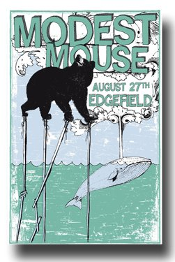- Modest Mouse Concert Edegfield Concert Art Print - Concert Memorabilia - 11x17 Poster, Vibrant Color, Features Isaac Brock, Jeremiah Green and Eric Judy.