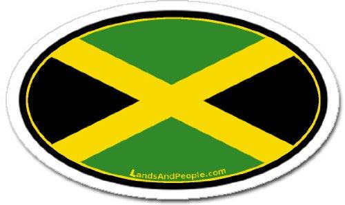 Jamaica Jamaican Flag Car Bumper Sticker Decal - Jamaica Oval Decal