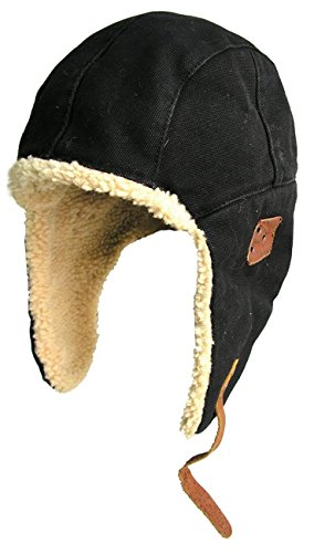 (Kakadu Original- Flying Baron Hat- Aviator Hat with Wool Sherpa Lining Trapper Hunting Cap Black)