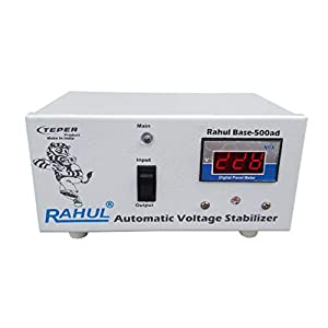 Rahul Base-500ad 500VA 140-280 Volt 3 Booster,1 LCD/LED TV,Smart TV,Android TV Up to 42″+dth/Refrigerator Up to 170 LTR,Use a Maximum of 1.5 Amp Load This Automatic Digital Voltage Stabilizer