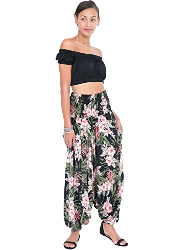 likemary 2 In 1 Printed Harem Pants and Bandeau Jumpsuit Tropical Florals reg (Bandeau Tropical)