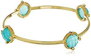 Gold-Tone Faceted Aqua Glass and Cubic Zirconia Round Station Bangle Bracelet