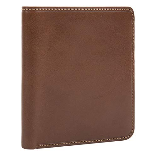 (Mens Leather Bifold Hipster Wallet Large with ID Window Multi Business and Credit Card Holder Slots made with Real Italian Cowhide Leather by Tony Perotti)
