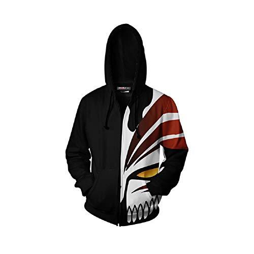 newhui Adult Kurosaki Ichigo Jacket Hoodie Costume Halloween Cosplay 3D Printed Hooded Zip Up Pullover Sweatshirt Outwear (X-Large, Black 2)]()