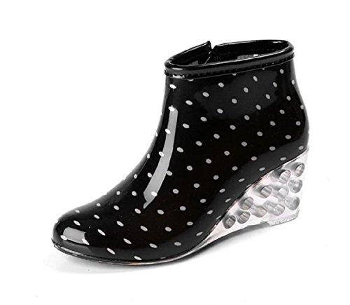 Kuro&Ardor Rubber Boots Woman Lined Low Short Rain Shoes dot Waterproof dot Zipper Wedge Sole Skeleton Girl (7 US 24.5cm, White Polka (Lined Low Heel Heels)