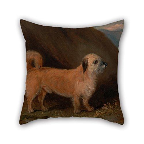 Artistdecor Oil Painting John E. Ferneley Jr. - A Dandie Dinmont Terrier Pillow Shams ,best For Chair,car,club,christmas,birthday,teens Girls 18 X 18 Inches / 45 By 45 Cm(twin Sides)