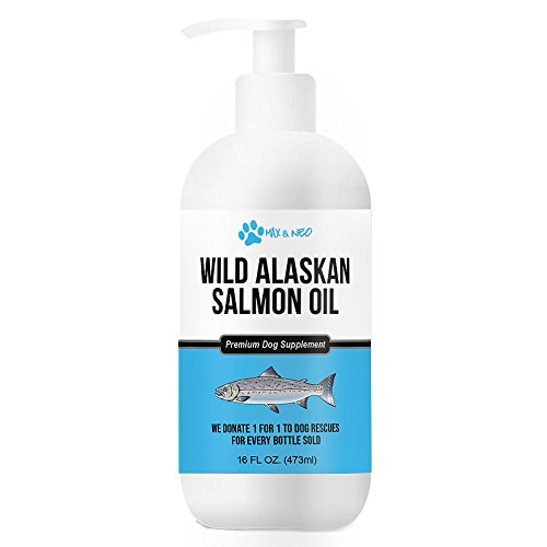 Max and Neo 100% Pure Wild Caught Alaskan Salmon Oil Dogs Cats - We Donate One One to Dog Rescues Every Bottle Sold (16oz)