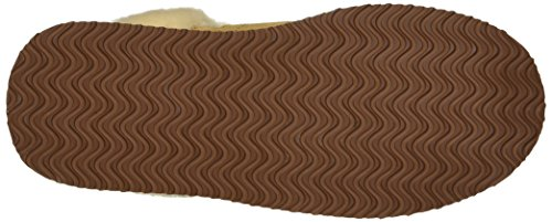Dearfoams Womens Suede Closed Toe Scuff Slipper - Indoor/Outdoor Padded Slip-Ons With Geniune Suede and Warm Shearling Wool Lining Desert NNSGK
