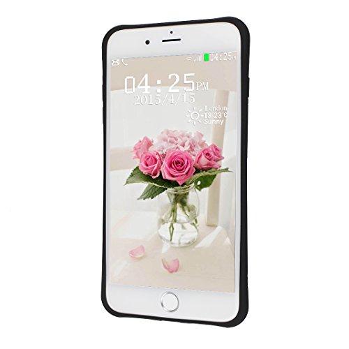 Funda iPhone 7 Silicona, Rosa Schleife Ultra delgado Cubierta de la caja del silicón de TPU Caso Carcasa cubrir con diseño de chapado de la contraportada Función de Soporte Funda de Móvil para el iPho Plating - Negro