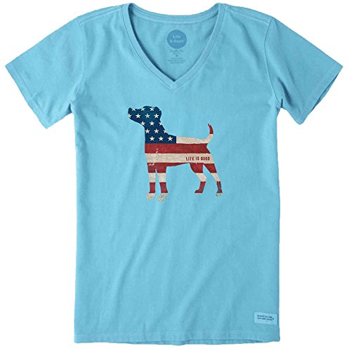 Life is good Women's Crusher Vee Dog Flag Clturq T-Shirt, Cool Turquoise, Large