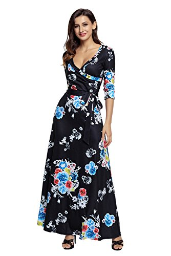 Waist Women AlvaQ Dress Neck Maxi V Printed Wrap Black XXL Floral S Tie 2 10 Floral CxSrnCw