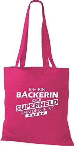 Shirtstown Stoffbeutel Ich bin Bäckerin, weil Superheld kein Beruf ist fuchsia