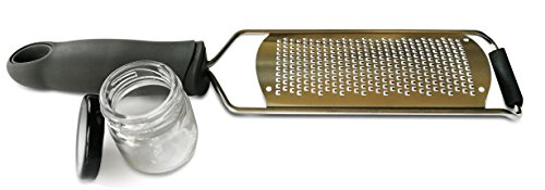 - Tolizz Citrus Zester & Cheese Grater - Handheld Stainless Steel Blade Kitchen Tool + Protective Cover With Complementary Glass Jar - Lemon, Ginger, Parmesan, Garlic, Nutmeg, Carrot and cinnamon Rasp