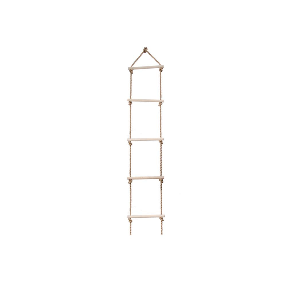 Beautyer Kids Climbing Rope Ladder, Wooden Climbing Rope Ladder with 5 Rungs Rope Ladder Tree Ladder Toy for Kids Adventure Games Wood Color by Beautyer