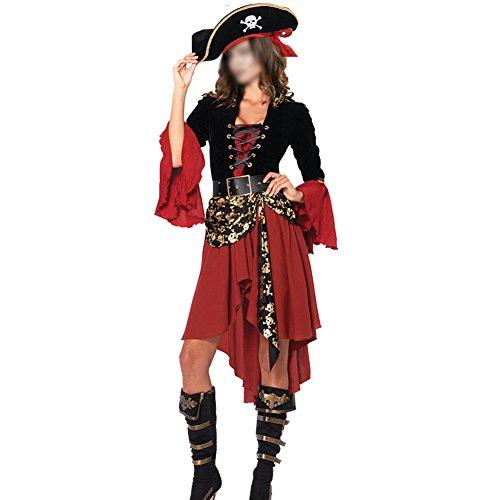H&ZY Halloween Women Pirate Costume Beauty Cosplay Cap Dresses (Pirate Halloween Costume Female)