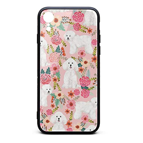 Cute Phone Case for iPhone XR Bichon Frise Dog Pink Florals Vintage Rubber Frame Tempered Glass Covers Designer Shock-Absorption Skid-Proof Never Fade Cell Cases Big