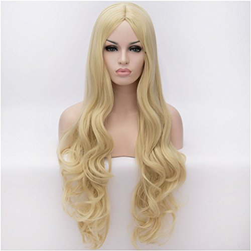 Sexy Care Bear Costumes (Flovex Women Long Wavy Cosplay Wigs Ladies Sexy Natural Costume Club Party Daily Hair with Wig Cap (Blonde))