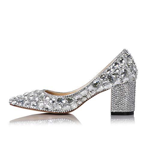 Demoiselle De Dames D'honneurcoloréArgentTaille Length foot Talon 23 Strass 4uk Argent Épais Chaussures Mariée Sparkle 5cm Mocassins BerdxCo