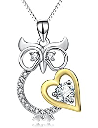 Jewelry 925 Sterling Silver Owl with Gold Tone Heart...