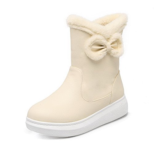 AgooLar Women's Low-Heels Soft Material Low-Top Solid Pull-On Boots Beige fhrbNK0M