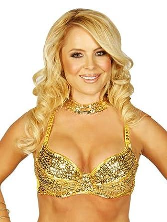 ce579720e9 Amazon.com  Sexy Gold Sequin Bra - MEDIUM LARGE  Clothing