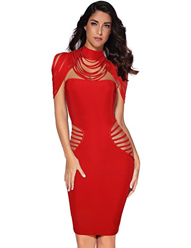 Meilun Womens Rayon Tassel Two Pieces Set Bandage Bodycon Party Dress (M,...