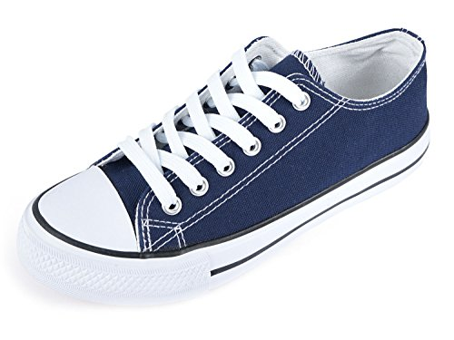 SUNJIN ARCO Women's Fashion Lace up Sneaker Low Top Canvas Shoes (Navy Blue,7 B(M) US)
