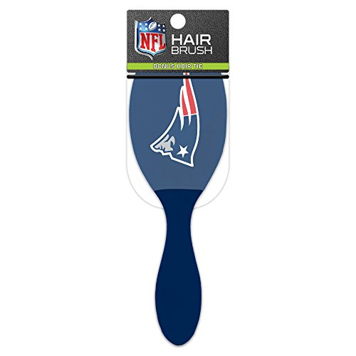 (Worthy Promotional NFL New England Patriots Salon Style Hair Brush with Ball Tipped Bristles and Bonus Hair tie)