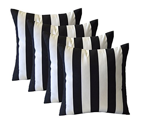 Set of 4 - Indoor / Outdoor Square Decorative Throw / Toss Pillows - Black and White Stripe Fabric - Choose Size (17