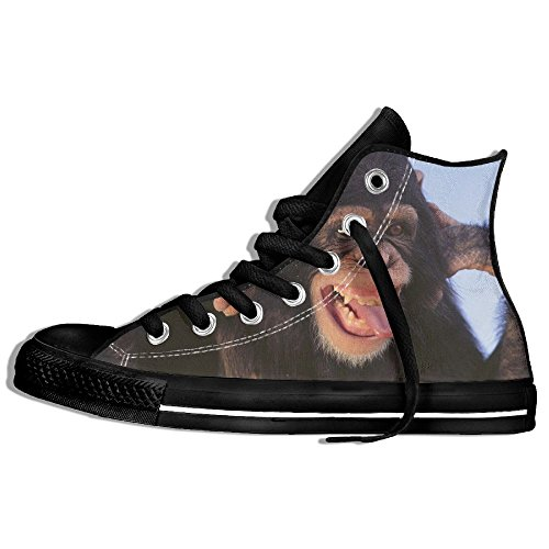 Classic High Top Sneakers Canvas Shoes Anti-Skid Snout Monkey Casual Walking For Men Women Black hTAs0pAO5e