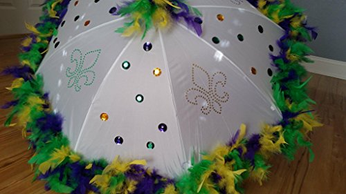 Mardi Gras Second Line Umbrella with Gems and Purple, Green, Yellow Mixed Feathers on White Medium or Large Umbrella, Authenitc New Orleans]()