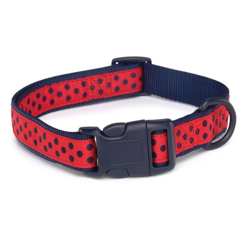 Zack and Zoey 6 to 10-Inch Nylon Brite Polka Dot Dog Neck Collar, Navy, My Pet Supplies