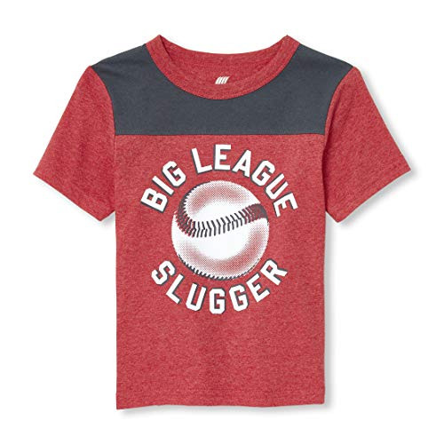 The Children's Place Baby Boys Short Sleeve Graphic T-Shirt, Ruby - Baseball Tee Love