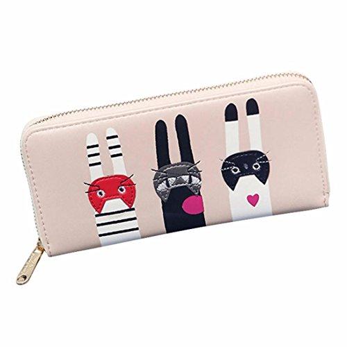 Women Wallet, Han Shi Women Cat Pattern Zipper Coin Purse Card Holders Long Wallet Handbag Flexible Wallet Large Travel Working Purse Pocket (Pink)