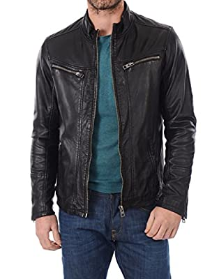 Mens Lambskin Leather Jackets Motorcycle Biker Bomber Black Real Leather Jackets Men