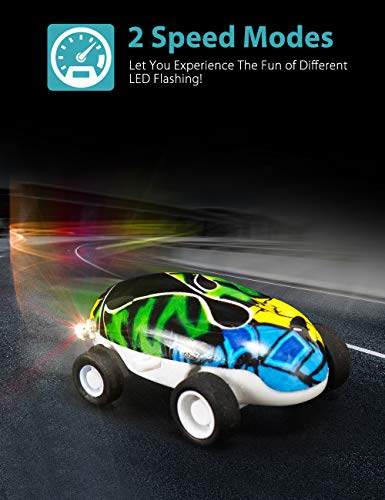 Aubllo Toy Cars Mini High Speed Vehicles with Keychain LED Light up Glow Toys in Ball Spinner for Kids Stocking Stuffers Christmas Novelty Gift Boys or Girls(Color Randomly)