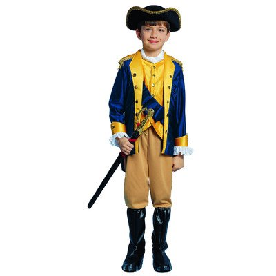 Kids Patriot Costume - Child Size Large 12-14 - (RUNS VERY SMALL See Notes, does not include weapon) (Colonial Soldier Costume)