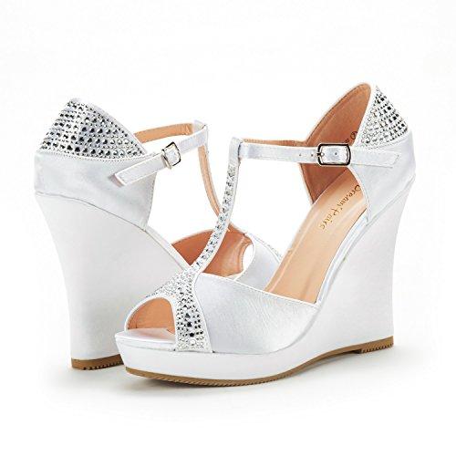 Paio Di Scarpe Da Donna Angeline Moda Zeppe Piattaforma Piattaforma Tacco Peep Toe Sandali Pompe 02 Bianco-satinato