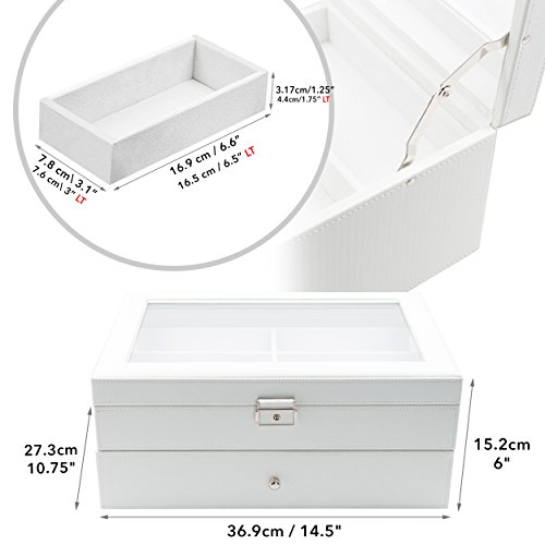 12 Piece Large White Leatherette Eyeglass Sunglass Two Level Glasses Display Case with Drawer Storage Box by TimelyBuys (Image #1)