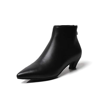 ZHRUI Tacones Altos Gato Femenino con Botines Cremallera Puntiaguda Tubo Corto Botas de Mujer Zapatos de