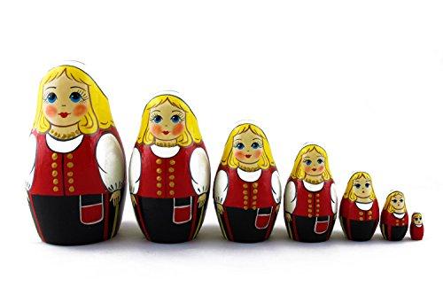 Russian National Costumes (Matryoshka Finnish Folk People National Costume Dress Babushka Russian Nesting Wooden Stacking Doll 7 Pcs)