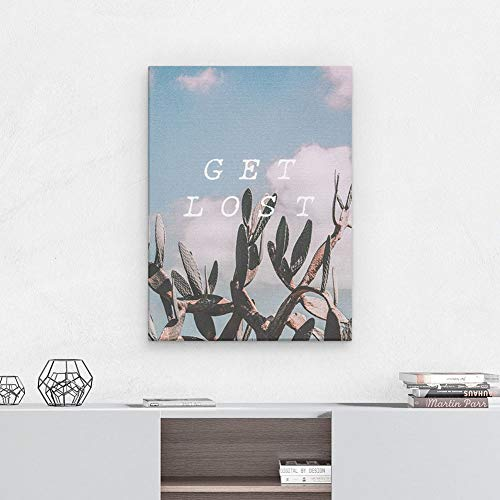 GISMI Large Canvas Print Stretched on a Frame Summer Get Lost Quote Cactus  Desert Plant Exotic Tropical Wall Art Size 30cm x 40cm for Stylish Modern