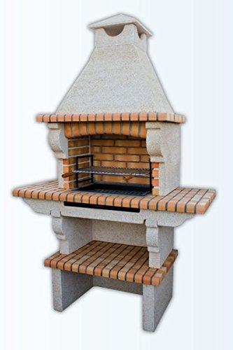 barbacoa en cemento y ladrillo refractario para jardin mod. 037109