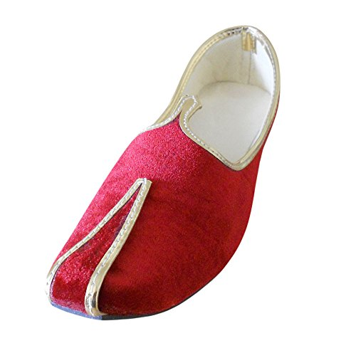 Chaussures Traditionnel Kalra De Hommes Indien En Rouge Velours Creations xFv6a