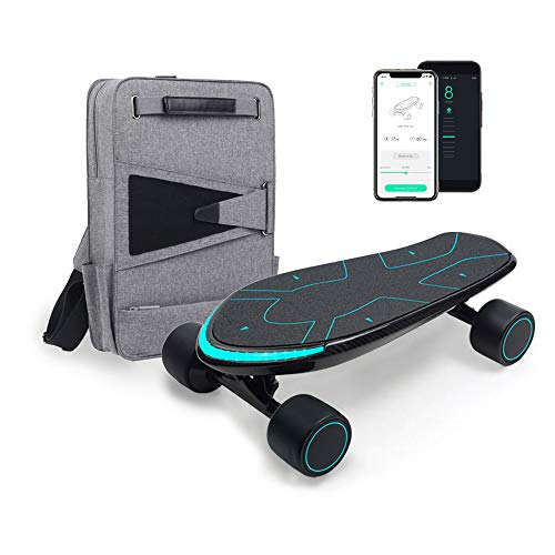 WALNUTT SPECTRA Advanced Electric Skateboard | 3D Posture Control Dual Hub Motor Boosted Board Carbon Fiber Deck Bluetooth Connectivity Top Speed 15.5 mph Range 12.4 miles Smart Braking Reddot Awarded