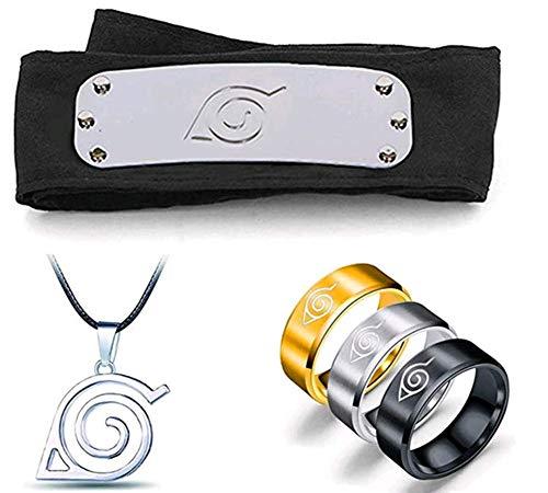 5PCS Naruto Cosplay Adjustable Metal Leaf Village Headband Ninja Uchiha Sasuke Kakashi Set Ring Necklace Black