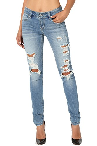 TheMogan Women's Medium Blue Washed Ripped Relaxed Slim Skinny Jeans Medium 7
