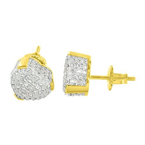 Yellow Gold Finish Earrings Heart 9 MM Ladies Screw Back Micro Pave Lab Diamond by Master Of Bling