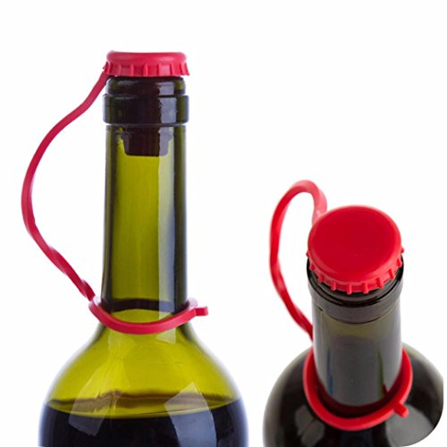 (Bottle Cap, Iusun Silicone Anti-lost Hanging Button Wine Beer Plug Bottle Cover Kitchen Tools (Red))