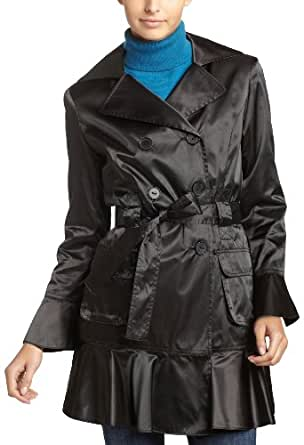 ABS by Allen Schwartz Women's Double-Breasted Trench Coat, Black, X-Small